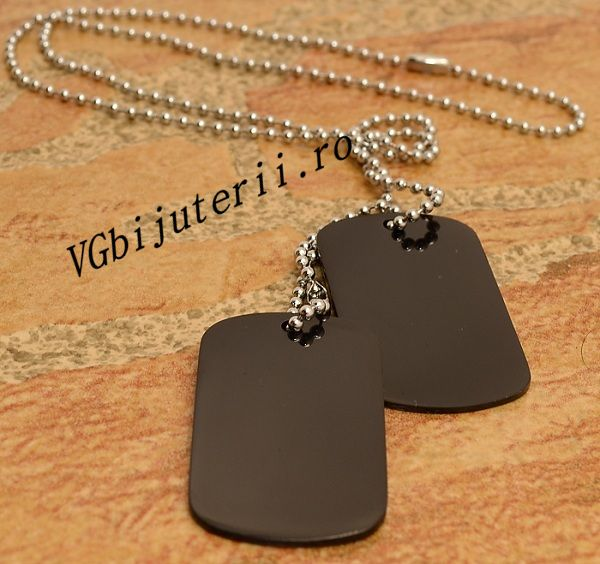 Lant inox Army(Dog Tag) BLACK cod 1066